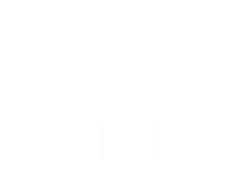 Icon of a person raising their hand