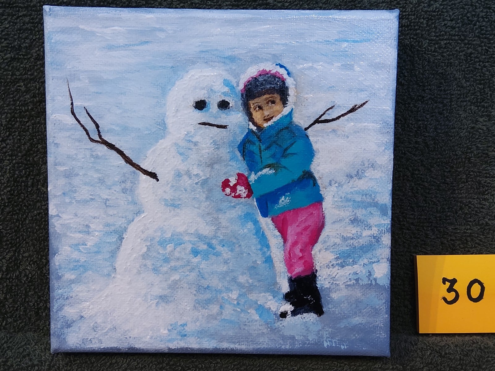 Painting of snow man and young girl