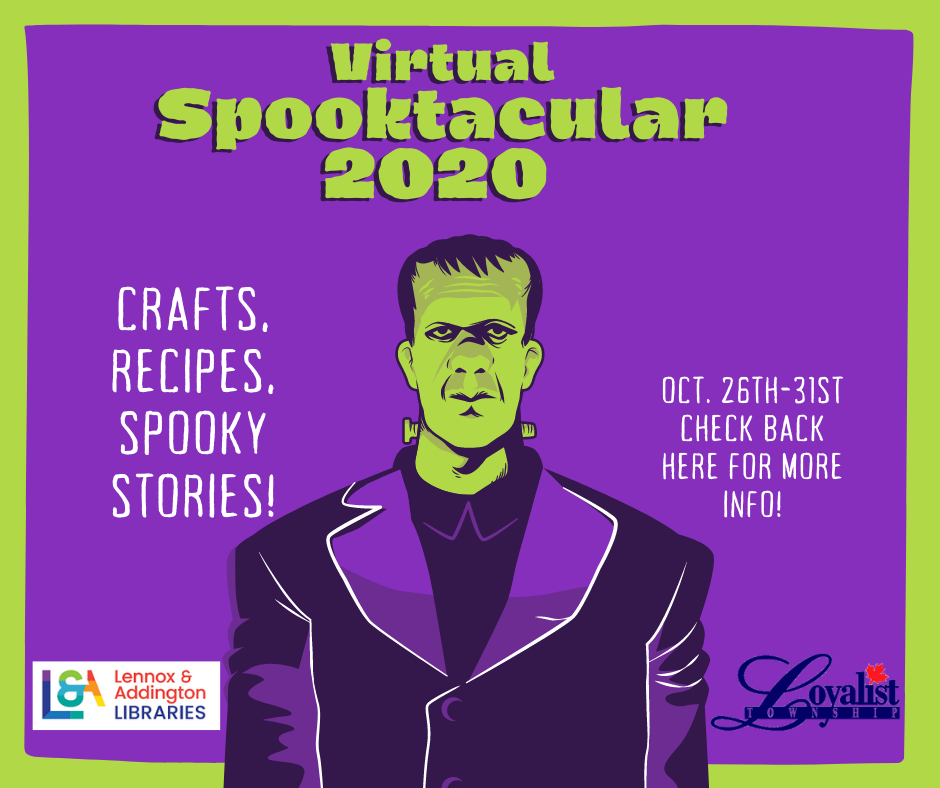 Virtual spooktacular 2020. Crafts, recipes, spooky stories! Check back here for more info October 26 to 31