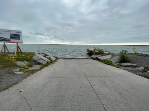 Boat launch ramp at Finkle's Shore Park in Bath