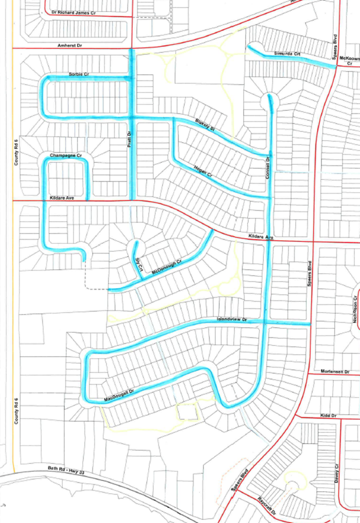 Map of road resealing in Lakeside Ponds, Amherstview