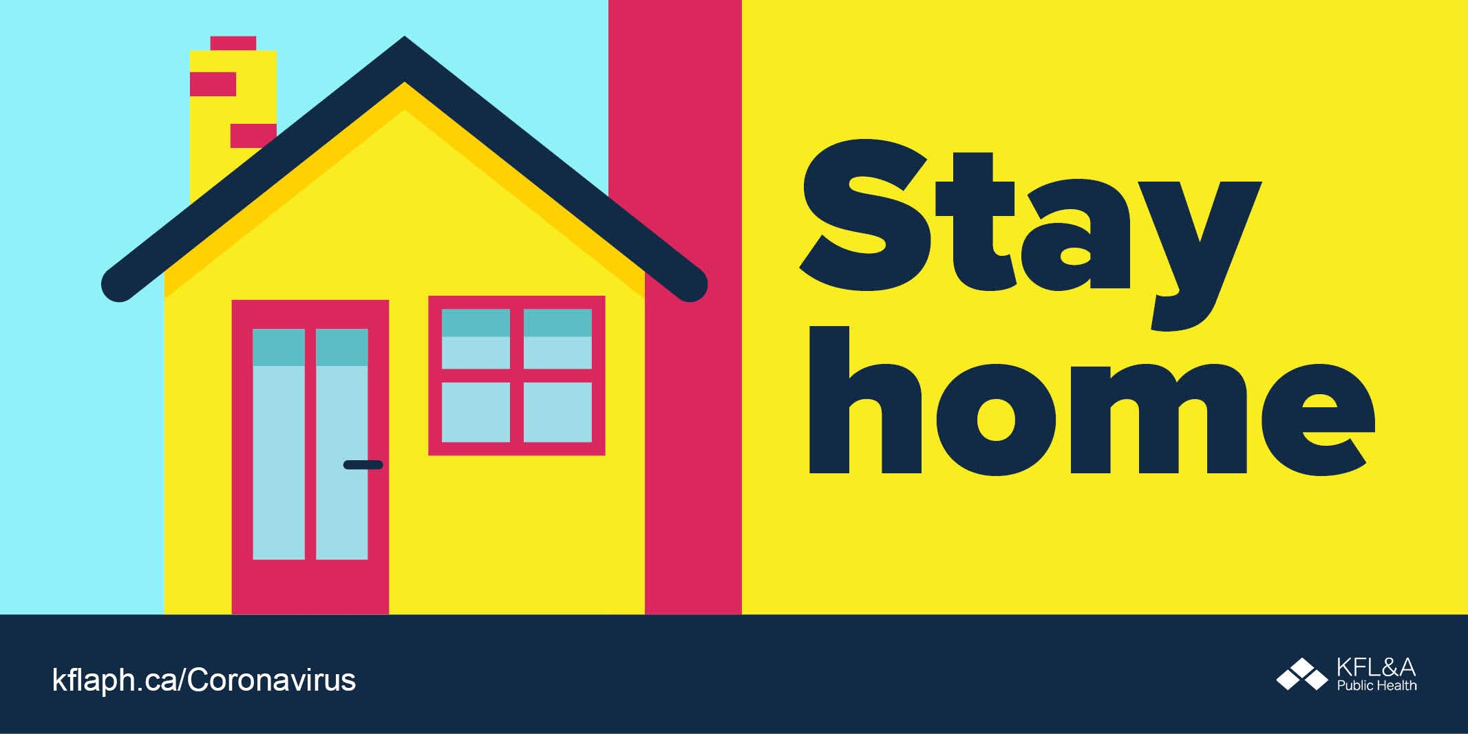 Illustration of a house with text overlay stating Stay Home