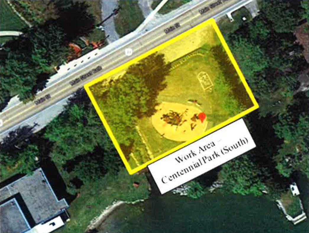 Satellite image of the south side of Centennial Park in Bath